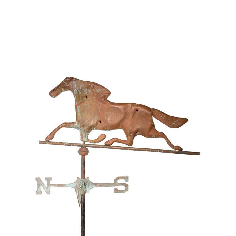 3 Dimensional Copper Trotting Horse Weather Vane In Good Condition For Sale In Coeur d'Alene, ID