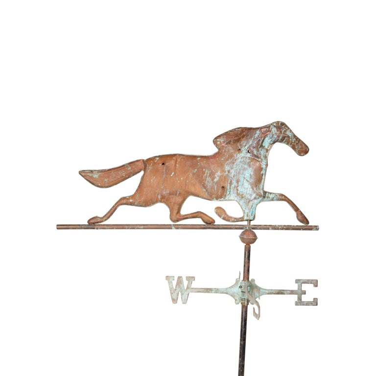 20th Century 3 Dimensional Copper Trotting Horse Weather Vane For Sale