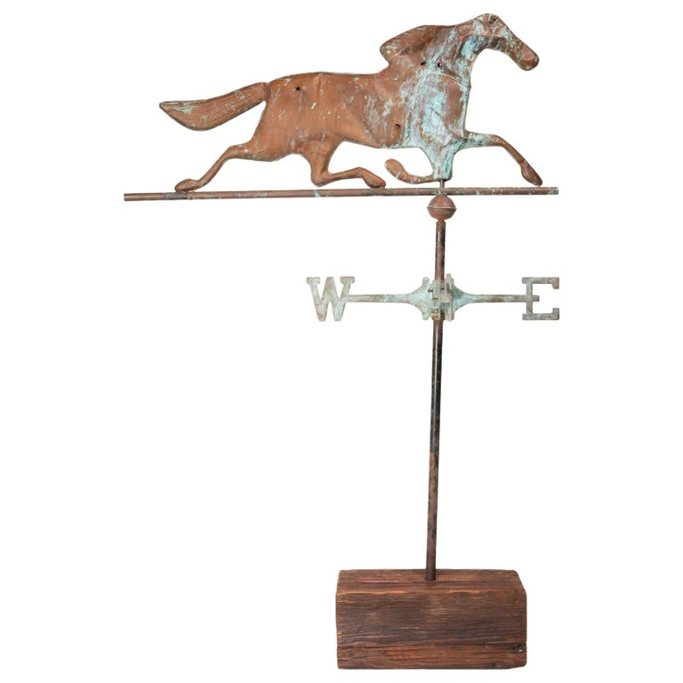 3 Dimensional Copper Trotting Horse Weather Vane For Sale