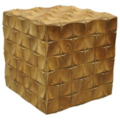 3 Dimensional Geometric Wood Carved Modern Cube Ottoman Stool Square Side Table