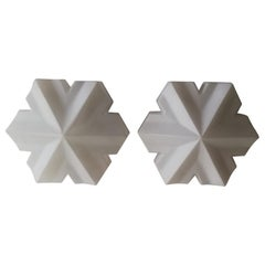 3 Dimensional Hexagonal Opal Glass Pair of Wall Lamps by BEGA, 1960s Germany