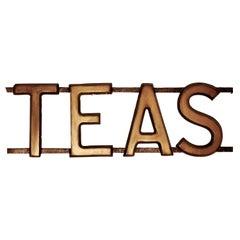 3 Dimensional Large Gilt Letter Wooden Tea Shop Sign