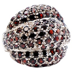 3 Dome Garnet Dome Ring Pave Sterling Silver