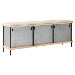 3 Door Strata Credenza with Travertine and Maple by Fort Standard, in Stock