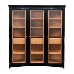3-Doors Black Display Cabinet