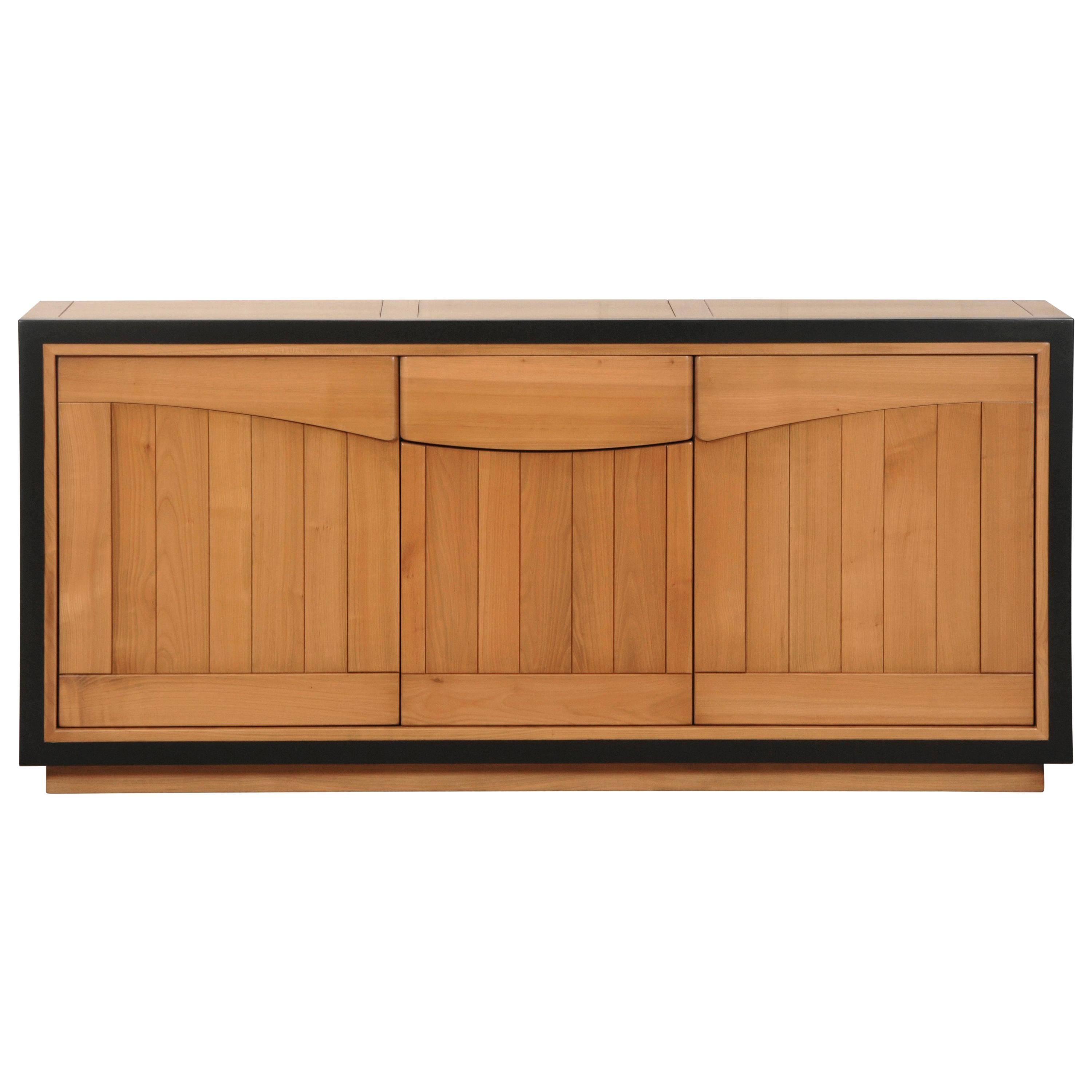 3 doors contemporary Sideboard in Cherry, 100% Made in France
