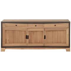 3 Doors Contemporary Sideboard in Oak, 100% Made in France