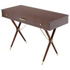 3-Drawer Low Profile Console Writing Table Hall Desk on X Bases Brass Stretcher