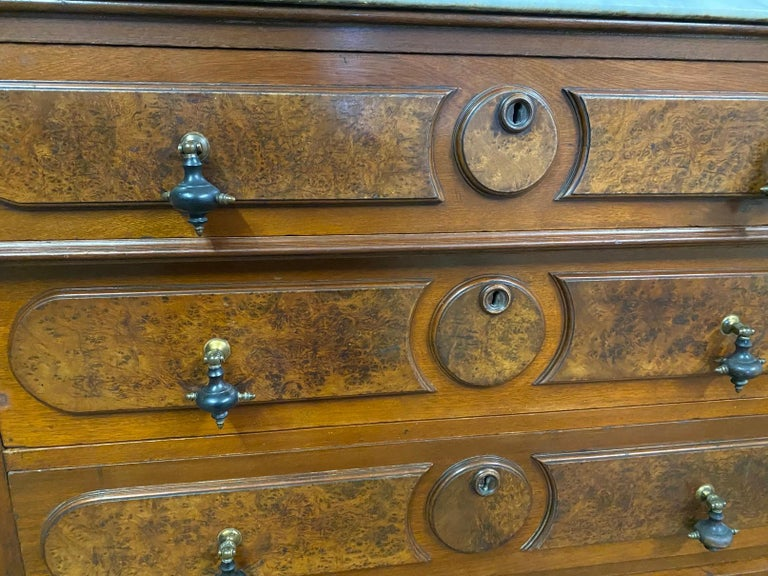 3 Drawer Marble Top Victorian Chest of Drawers For Sale 1