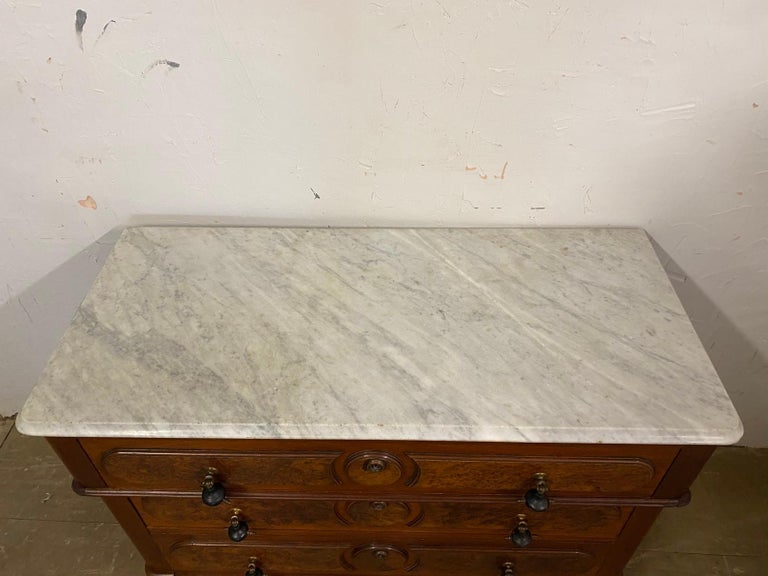 3 Drawer Marble Top Victorian Chest of Drawers For Sale 2
