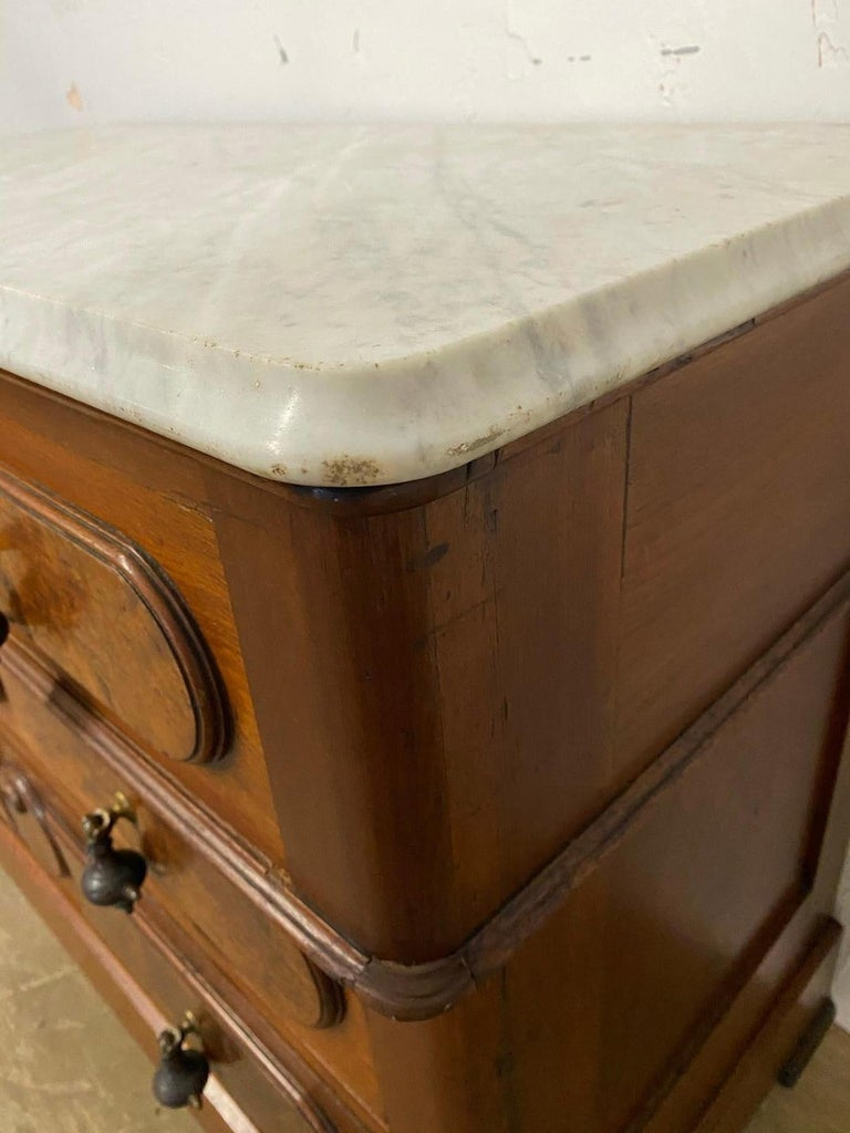 3 Drawer Marble Top Victorian Chest of Drawers For Sale 3