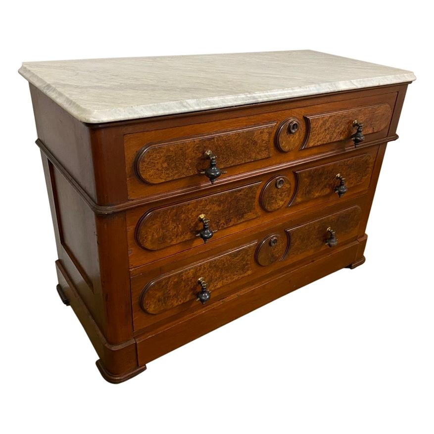 3 Drawer Marble Top Victorian Chest of Drawers