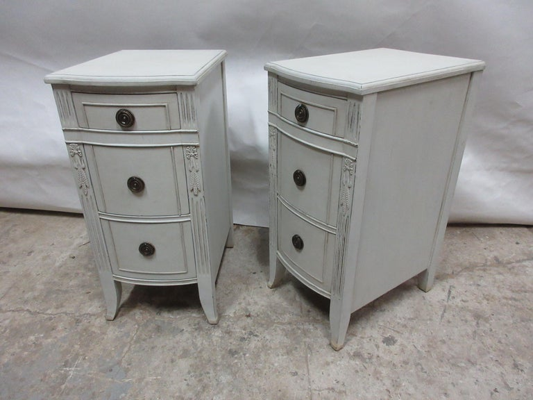 This is a set of 2, 3-drawer nightstands. They have been restored and repainted with milk paints