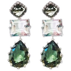 3-Drop Green Hydro Quartz + Mystic Topaz Gemstone Earrings in White Gold