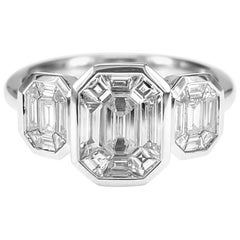 3 Emerald Pie Cut Diamond Weighing 0.98 Carat 18K White Gold Solitaire Ring