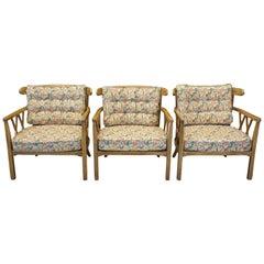 3 Finch Furniture Thomasville Mid-Century Modern Walnut Barrel Back Armchairs
