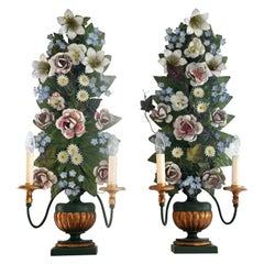 3 Flower Lamps 19th Century South German, Electrified, Baroque, Sheet Metal