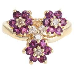 3 Flower Ring Ruby Diamond Vintage 14 Karat Yellow Gold Estate Fine Jewelry
