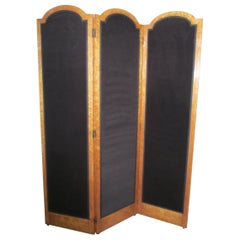 3 Fold Art Deco Dressing Screen, Bird's-Eye Maple Room Divider