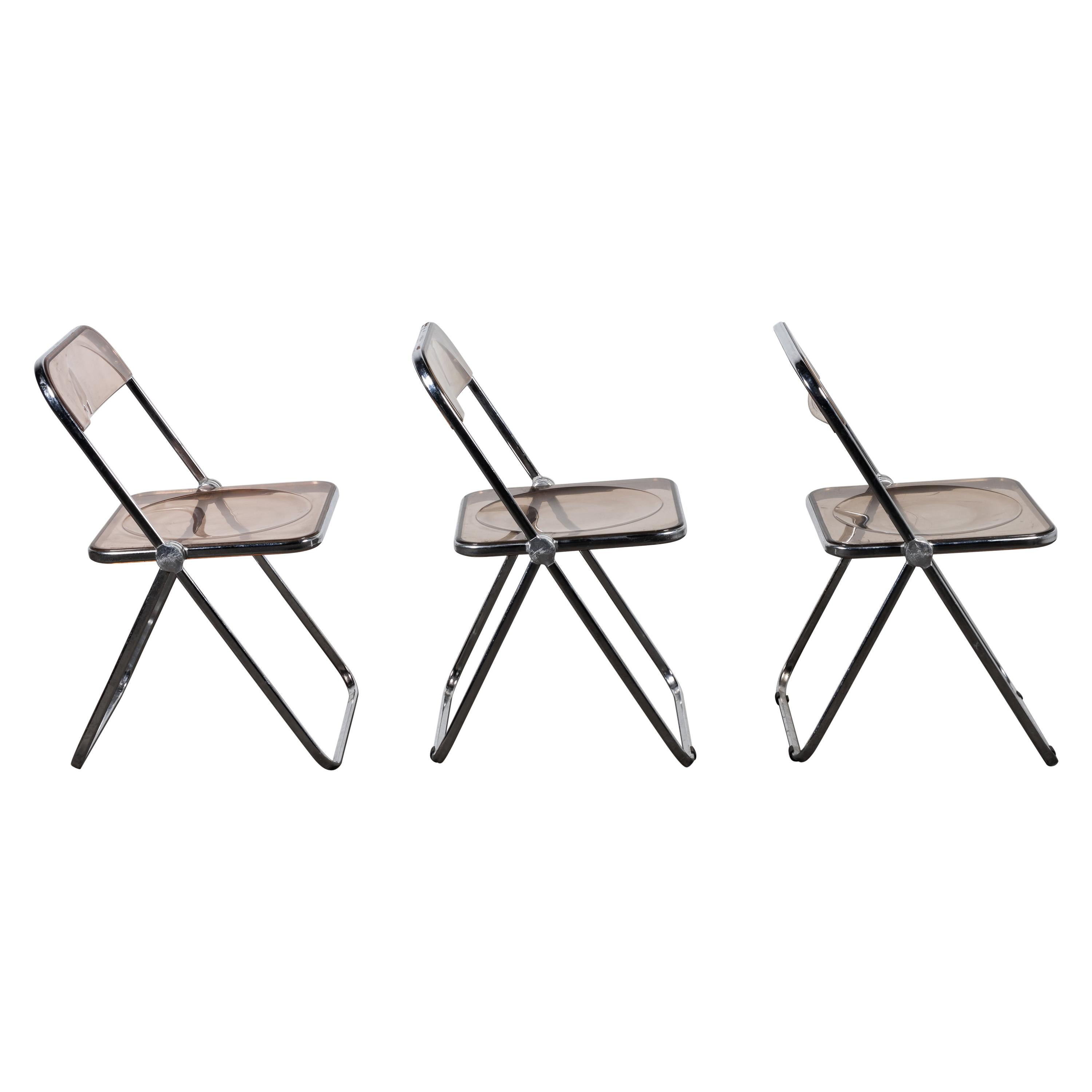 """3 Folding Lucite """"Plia"""" Chair by Piretti for Castelli, Italy"""