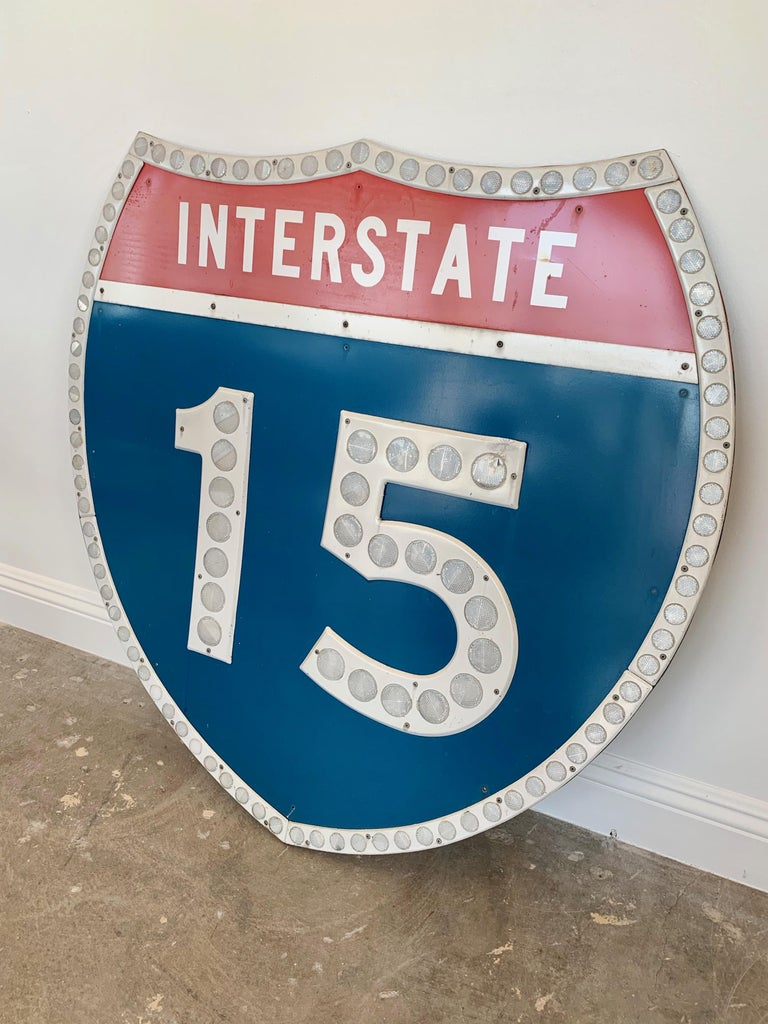 Tall Los Angeles 15 Freeway Shield In Good Condition For Sale In Los Angeles, CA