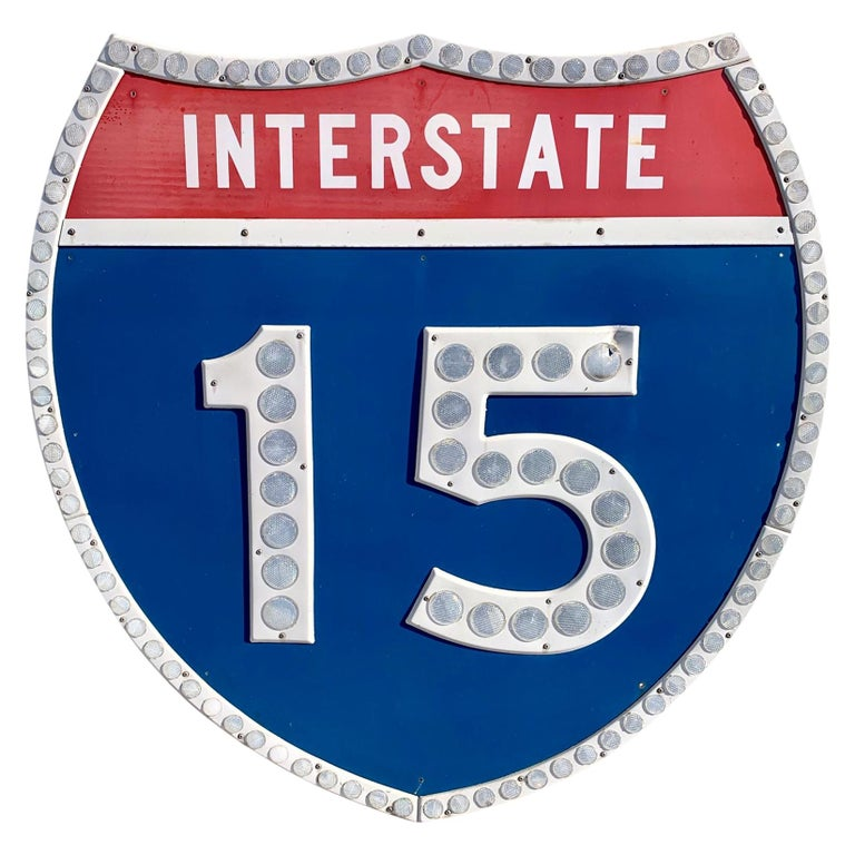 Tall Los Angeles 15 Freeway Shield For Sale
