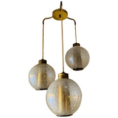 3 Globe Pendant/Chandelier with Crackle Glass and Brass
