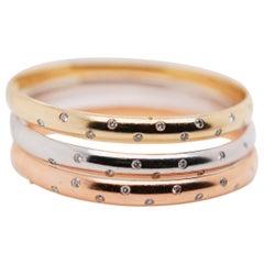 Set of 3 14K Gold / Rose Gold / White Diamonds Bangle Bracelet Set for Women's