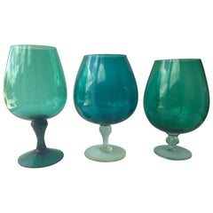 3 Hand Blown Multi-Green or Blue Hues Large Blown Glass Brandy Snifters or Vases