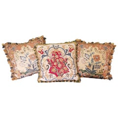 3 Hand-Embroidered Classic Style Pillows with Flowers
