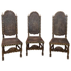 3 High-Backed Chairs, Cordoba Leather Trim with Native American Decor, Spain