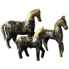 3 Horn and Brass Horses