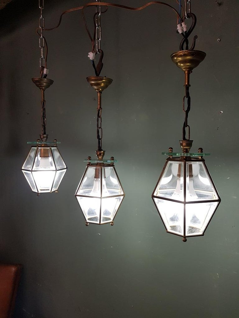 3 Identical French Brass Frame Pendants with Facet Cut Glass In Good Condition In Raalte, NL