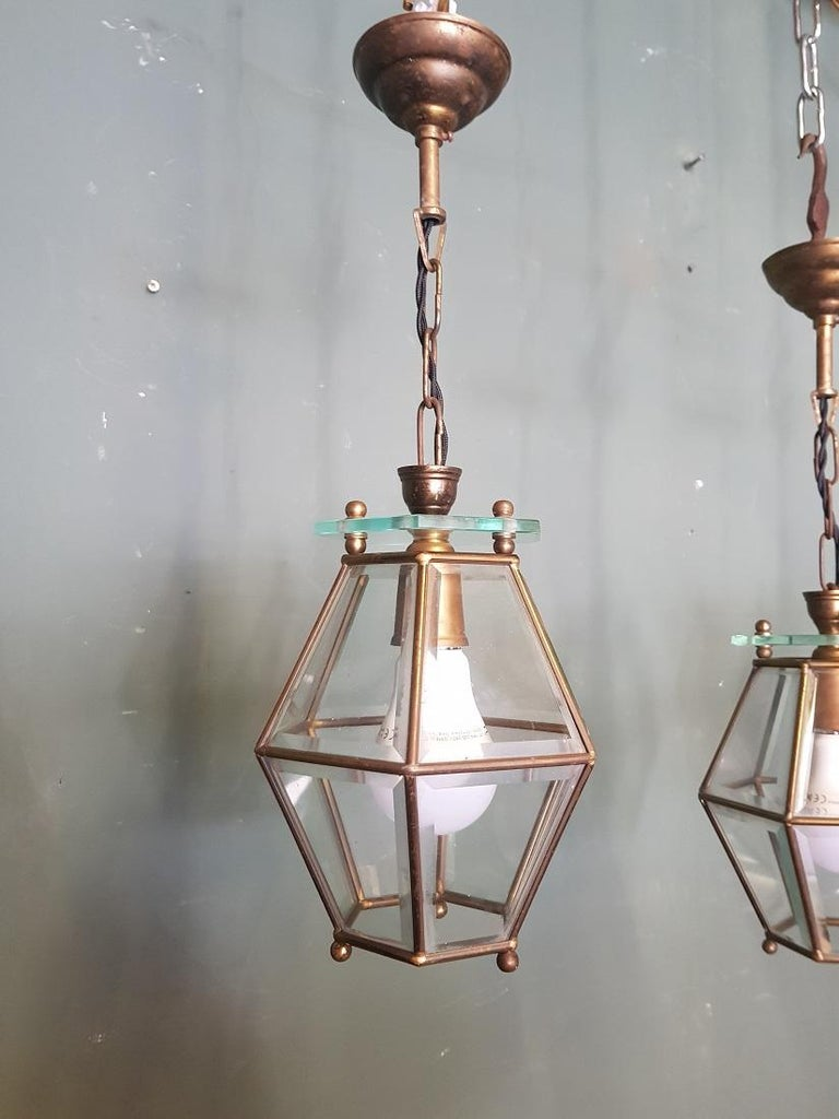20th Century 3 Identical French Brass Frame Pendants with Facet Cut Glass