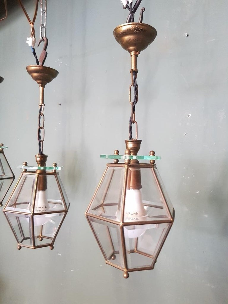 3 Identical French Brass Frame Pendants with Facet Cut Glass 2