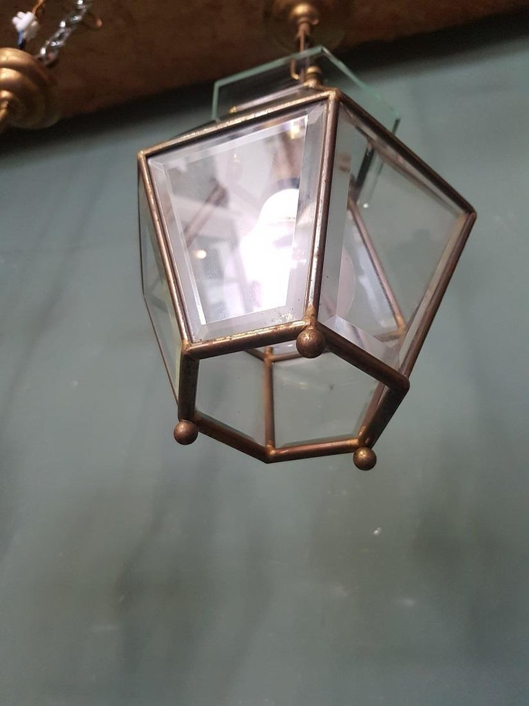 3 Identical French Brass Frame Pendants with Facet Cut Glass 3