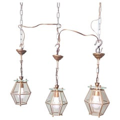 3 Identical French Brass Frame Pendants with Facet Cut Glass