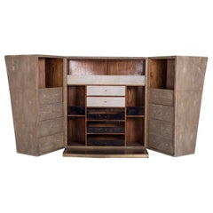 3 in 1 Bar Unit in Mink Shagreen & Shell and Bronze-Patina Brass by R&Y Augousti