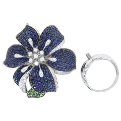 3 in 1 Blue Sapphire and Green Garnet Cocktail Ring, Brooch, Pendant Exquisite