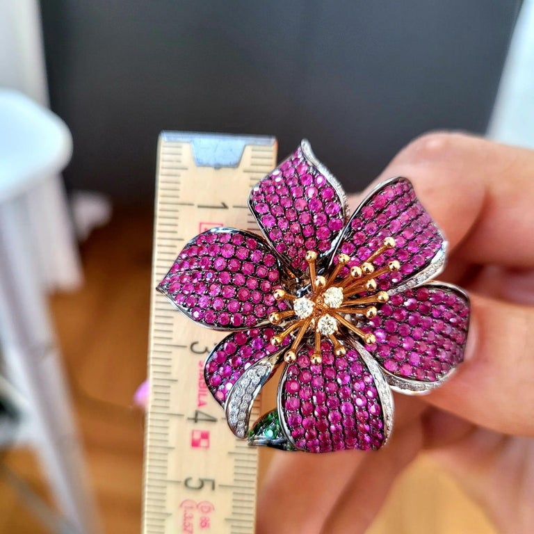 3 in 1 Red Sapphire & Green Garnet with Diamonds Cocktail Ring Brooch & Pendant For Sale 5