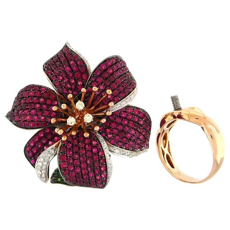 3 in 1 Red Sapphire & Green Garnet with Diamonds Cocktail Ring Brooch & Pendant For Sale