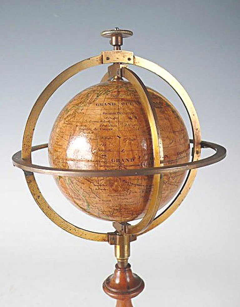3 Inches French Terrestrial Globe by Delamarche, 1864 In Excellent Condition For Sale In Milan, IT