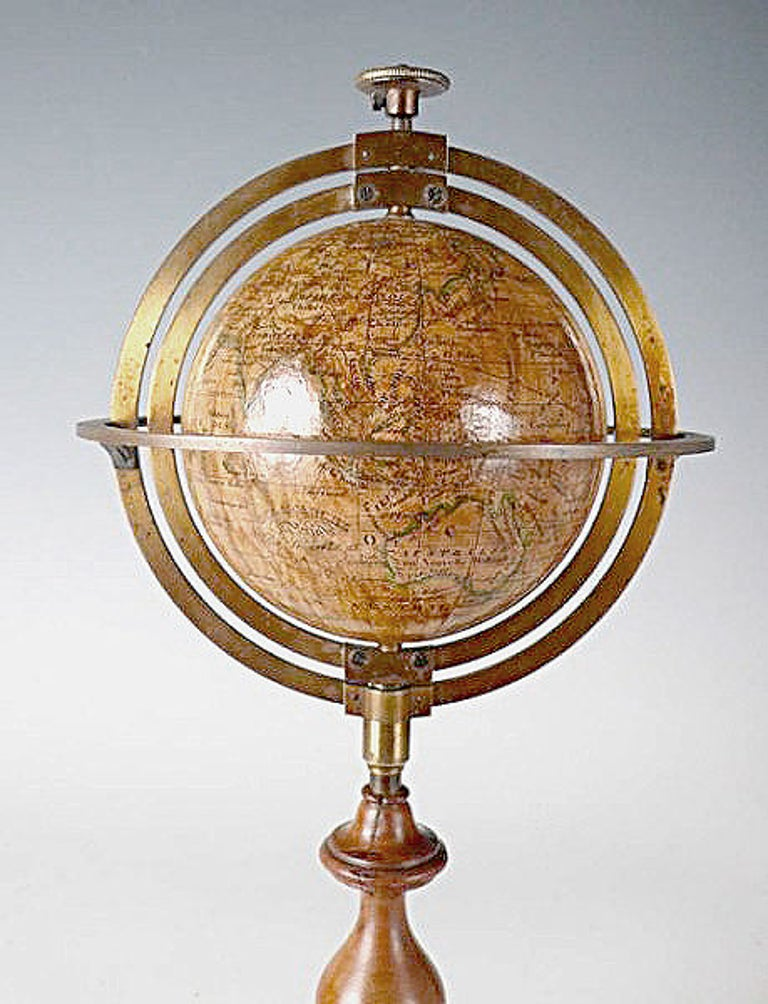 19th Century 3 Inches French Terrestrial Globe by Delamarche, 1864 For Sale