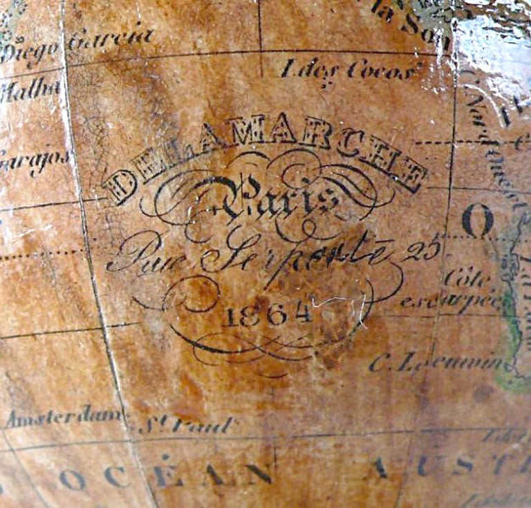 Brass 3 Inches French Terrestrial Globe by Delamarche, 1864 For Sale