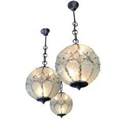 3 Incised, Painted, Segmented Glass Pendant Ceiling Globe Lights, Italy, 1950s