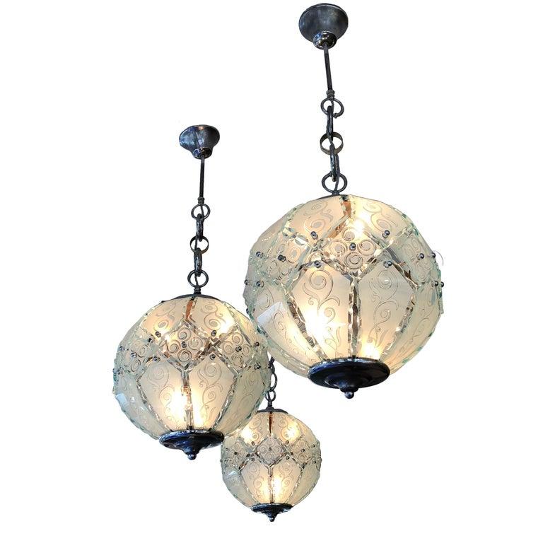 One Midcentury Italian Pastel Aqua Segmented Glass Pendant Ceiling Globe Light For Sale At 1stdibs