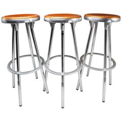 3 Industrial Bar Stools in Aluminum by Joan Casas Y Ortinez for Indecasa Spain
