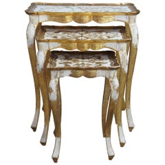 3 Italian Florentine Gold Painted Nesting End Accent Tables French Provincial
