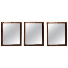 3 Italian Hollywood Regency Faux Bamboo Wooden Frame Wall Mirrors