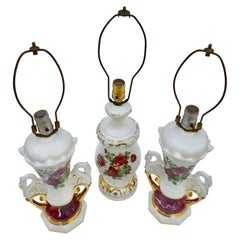 3 Jenny Worall Hand Painted Ceramic Table Lamps, 2 Are a Matched Set, Rose Motif